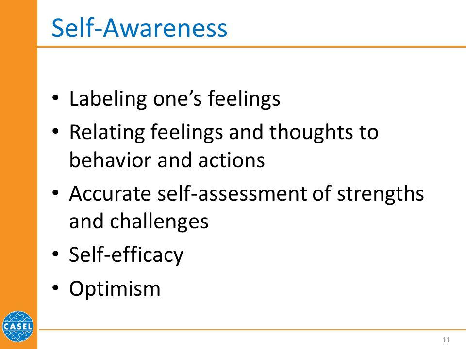 Self-Awareness Labeling one's feelings