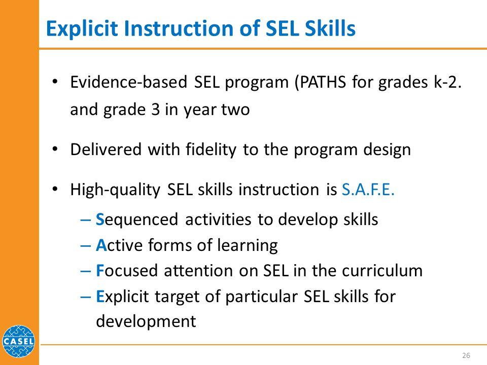 Explicit Instruction of SEL Skills