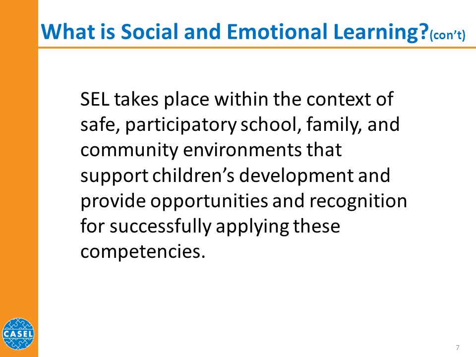 What is Social and Emotional Learning (con't)