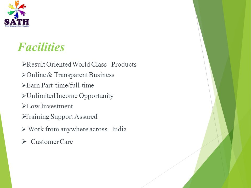 Facilities Result Oriented World Class Products Low Investment