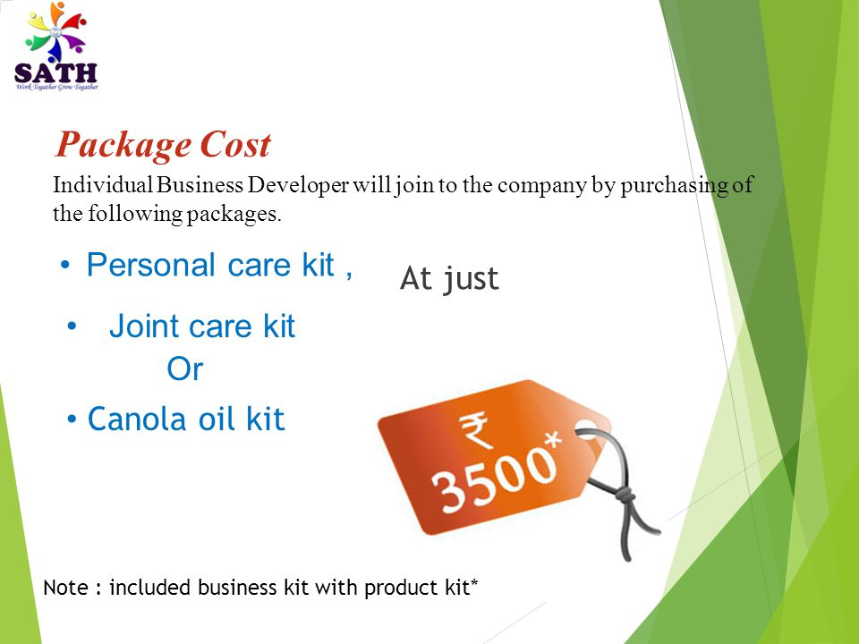 Package Cost Personal care kit , At just Joint care kit Or