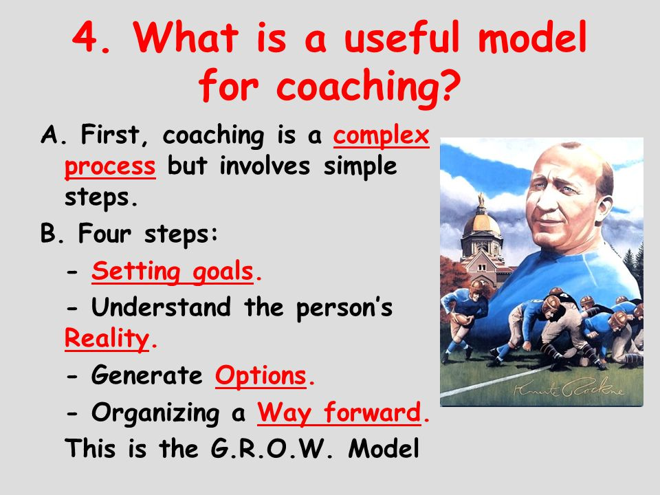 4. What is a useful model for coaching