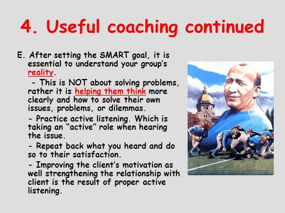 4. Useful coaching continued