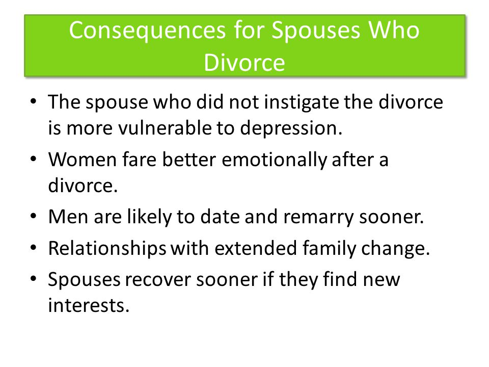 Consequences for Spouses Who Divorce