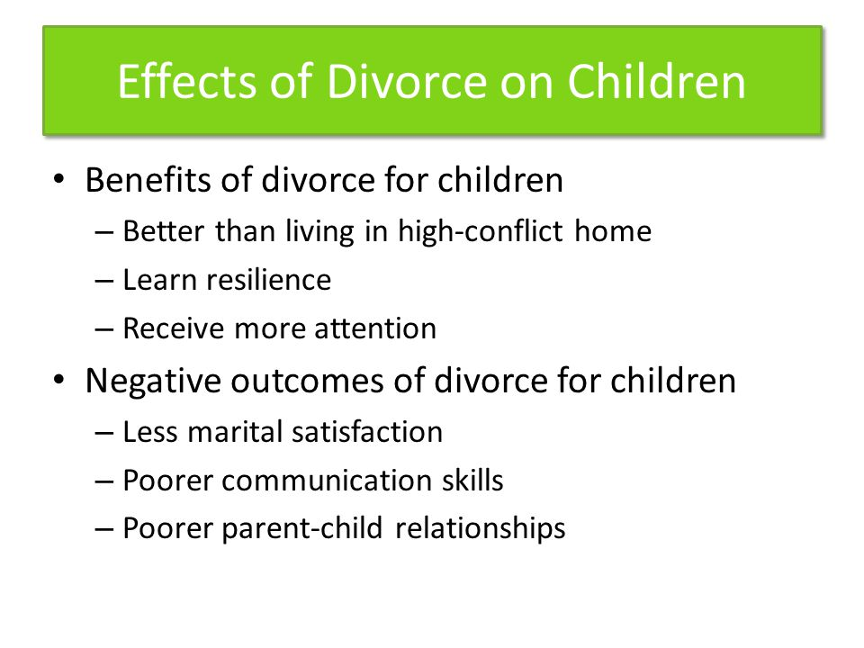 the effects and influence of divorce on children The possible negative emotional and psychological consequences in children of divorce later likelihood of their own divorce, it's clear that the effects that a.