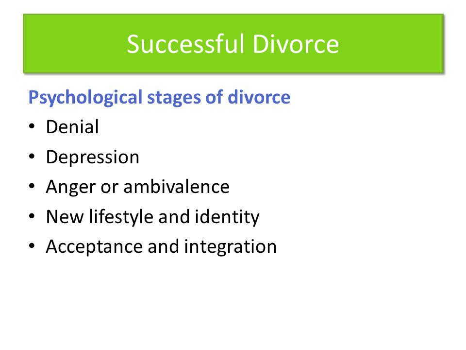 Successful Divorce Psychological stages of divorce Denial Depression