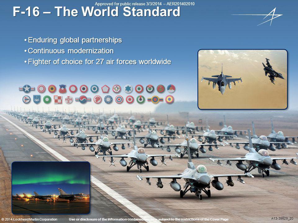 F-16 – The World Standard Enduring global partnerships