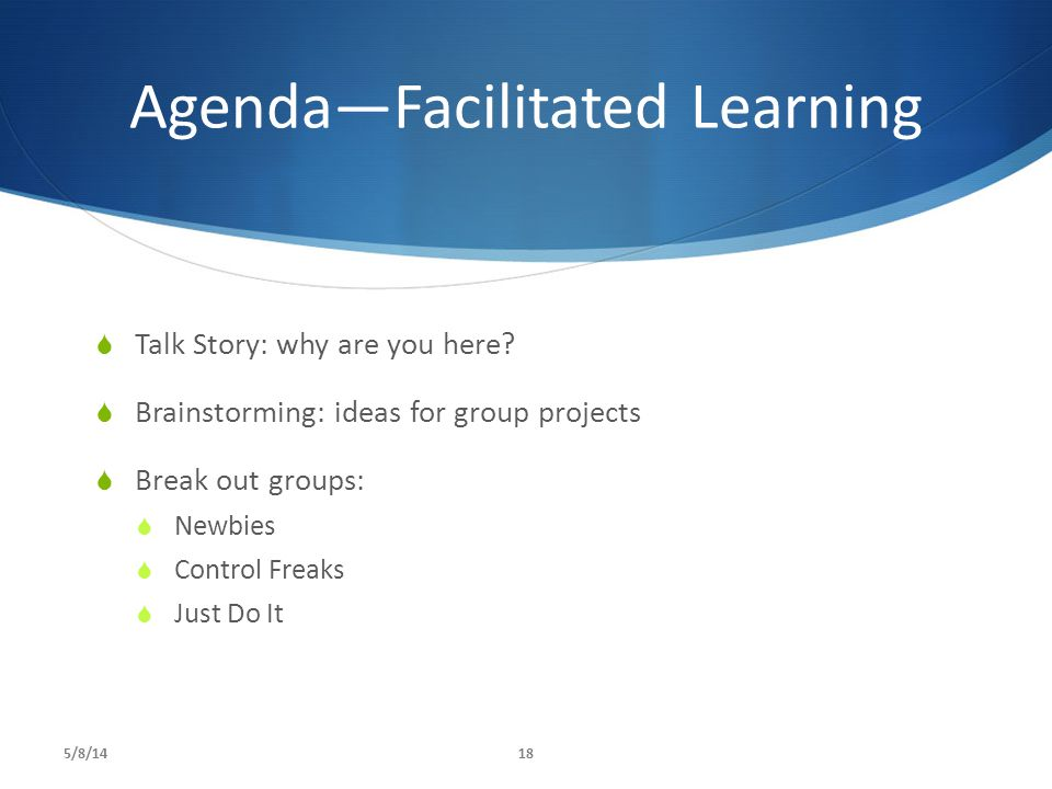 Agenda—Facilitated Learning