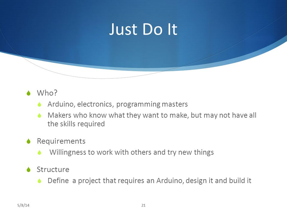 Just Do It Who Requirements Structure