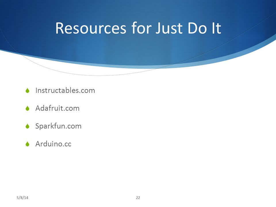 Resources for Just Do It