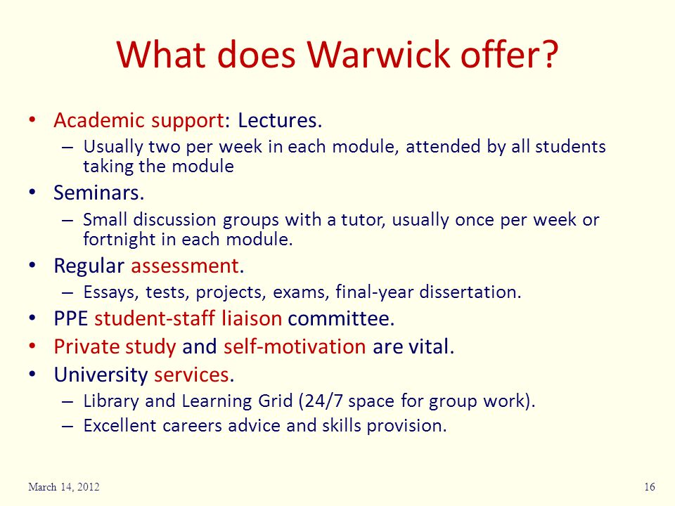 What does Warwick offer