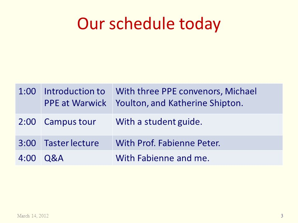 Our schedule today 1:00 Introduction to PPE at Warwick