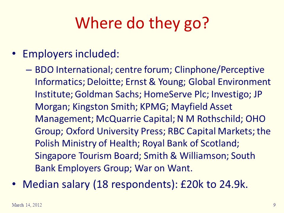 Where do they go Employers included: