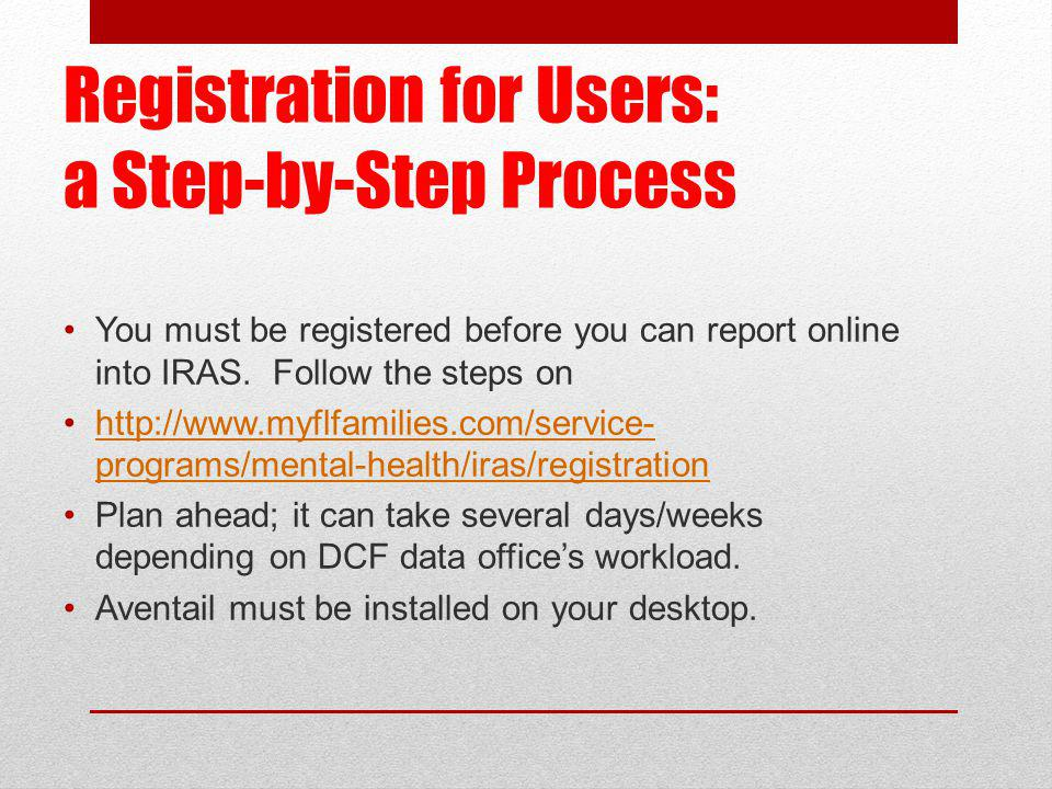 Registration for Users: a Step-by-Step Process