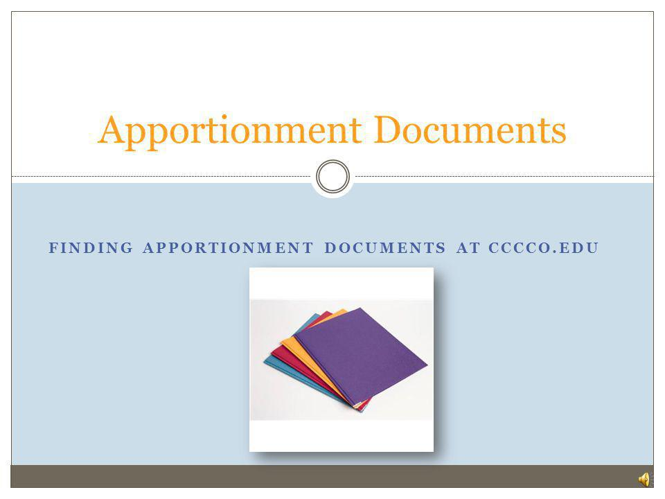 Apportionment Documents