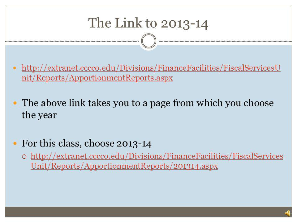 The Link to 2013-14 http://extranet.cccco.edu/Divisions/FinanceFacilities/FiscalServicesUnit/Reports/ApportionmentReports.aspx.