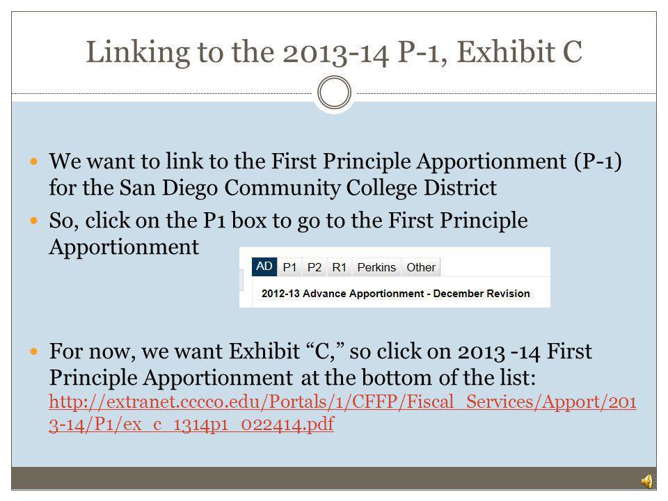 Linking to the 2013-14 P-1, Exhibit C