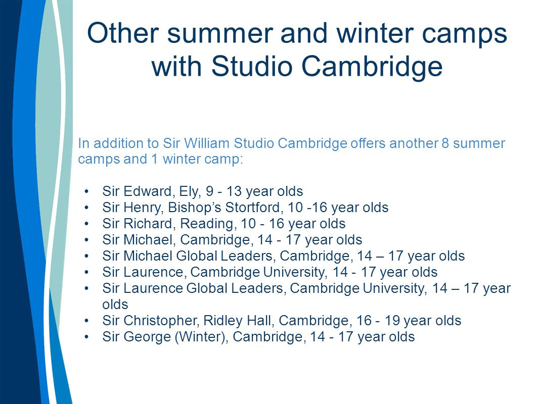 Other summer and winter camps with Studio Cambridge