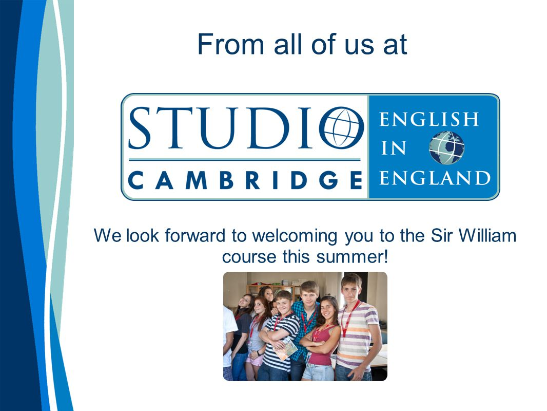 From all of us at We look forward to welcoming you to the Sir William course this summer!