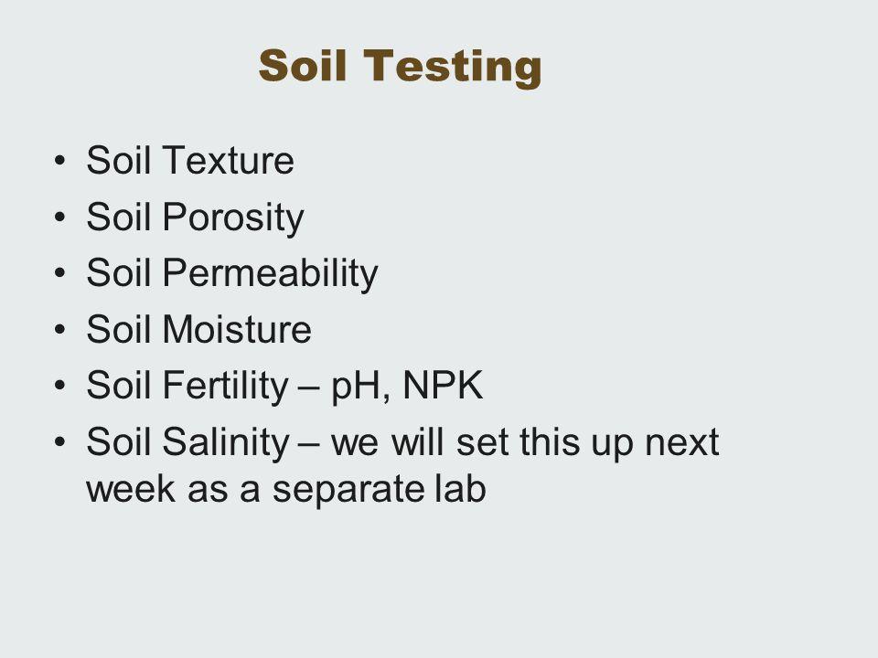 Soil Testing Soil Texture Soil Porosity Soil Permeability
