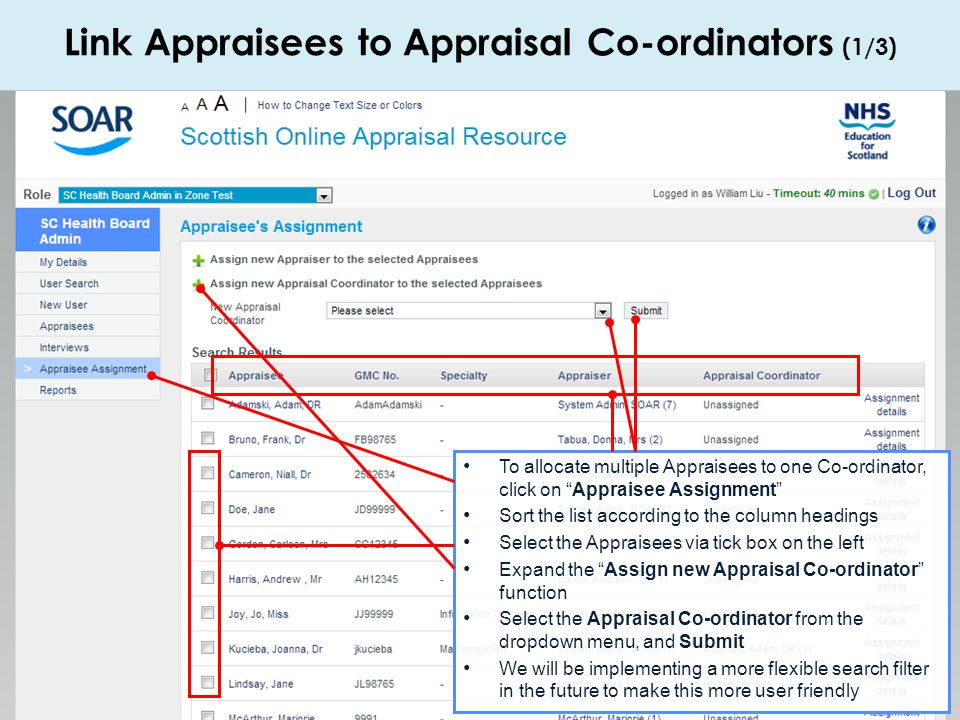 Link Appraisees to Appraisal Co-ordinators (1/3)