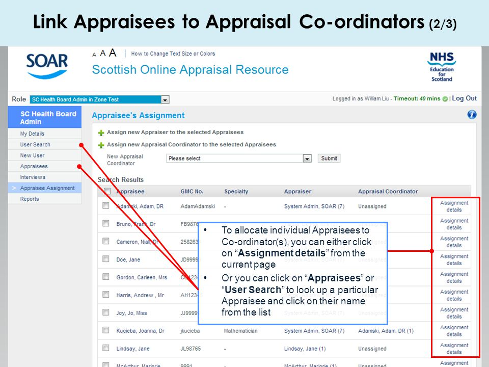 Link Appraisees to Appraisal Co-ordinators (2/3)