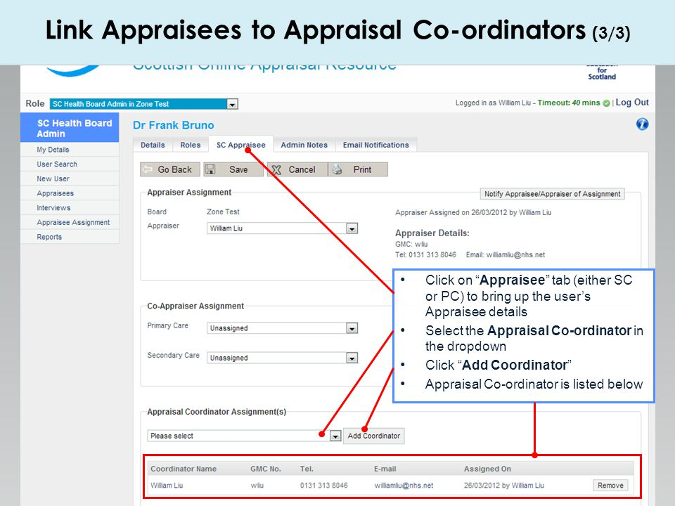 Link Appraisees to Appraisal Co-ordinators (3/3)