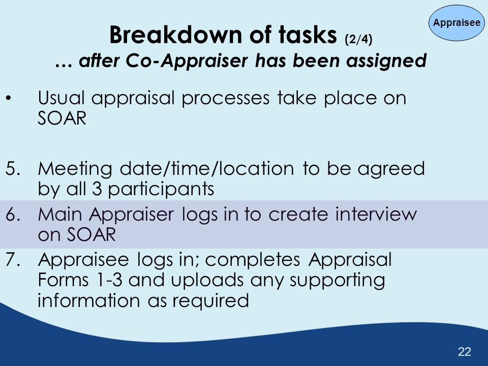 Breakdown of tasks (2/4) … after Co-Appraiser has been assigned