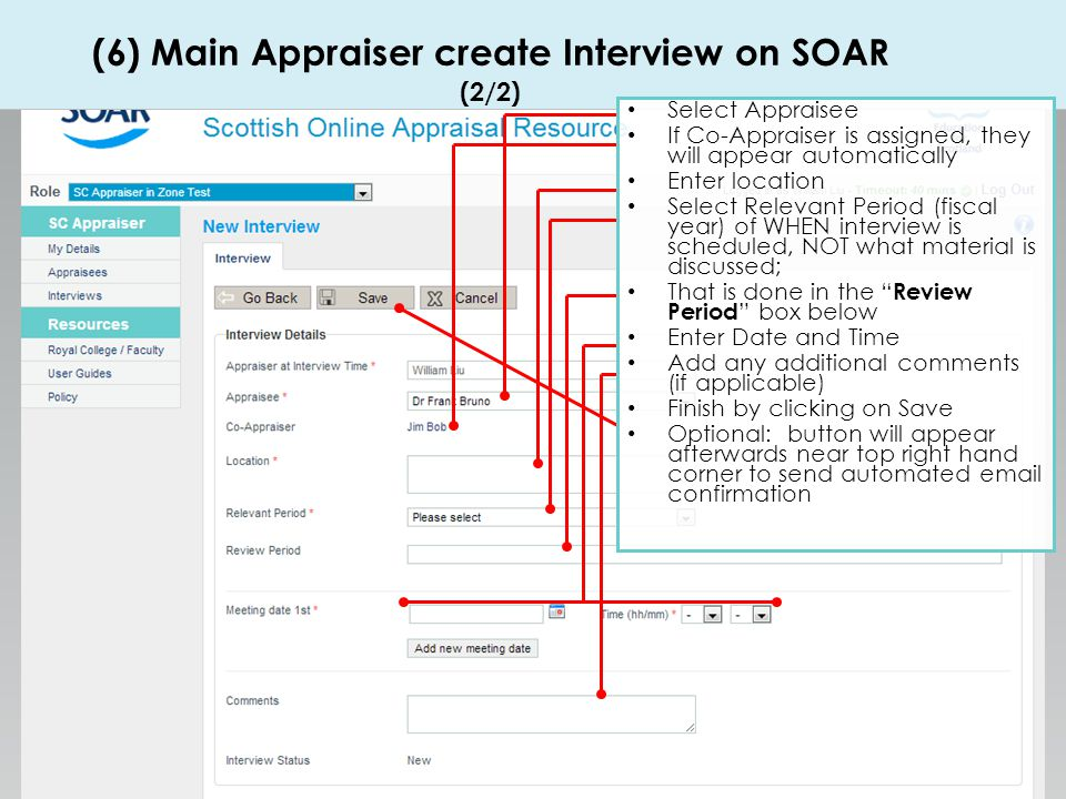 (6) Main Appraiser create Interview on SOAR (2/2)