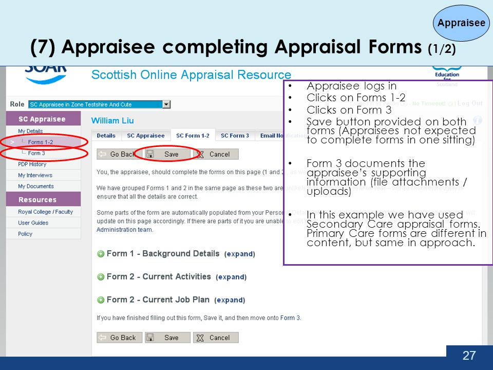 (7) Appraisee completing Appraisal Forms (1/2)