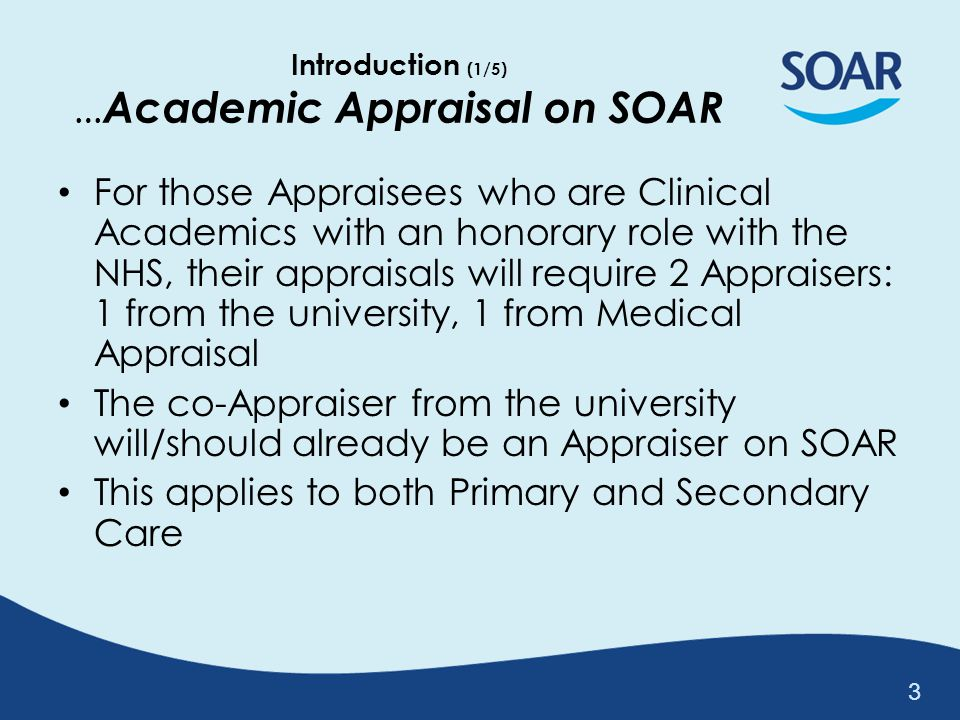 Introduction (1/5) …Academic Appraisal on SOAR