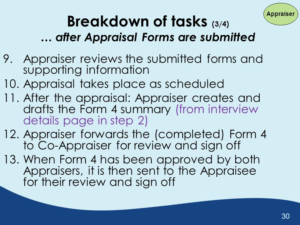 Breakdown of tasks (3/4) … after Appraisal Forms are submitted