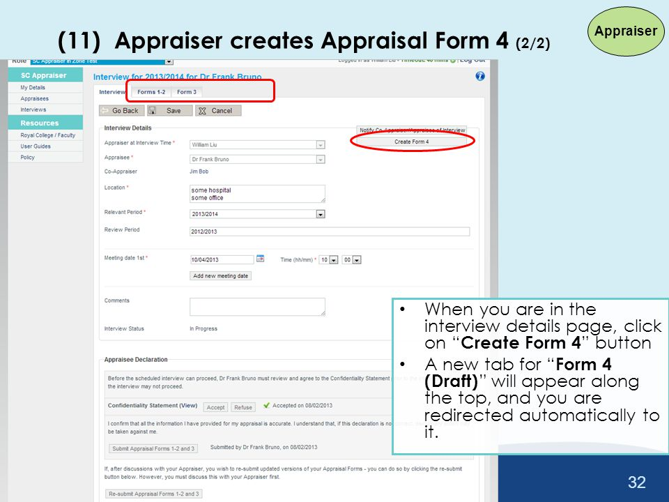 (11) Appraiser creates Appraisal Form 4 (2/2)