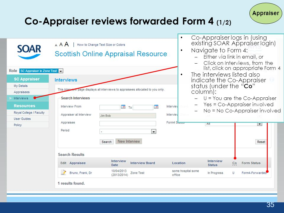 Co-Appraiser reviews forwarded Form 4 (1/2)