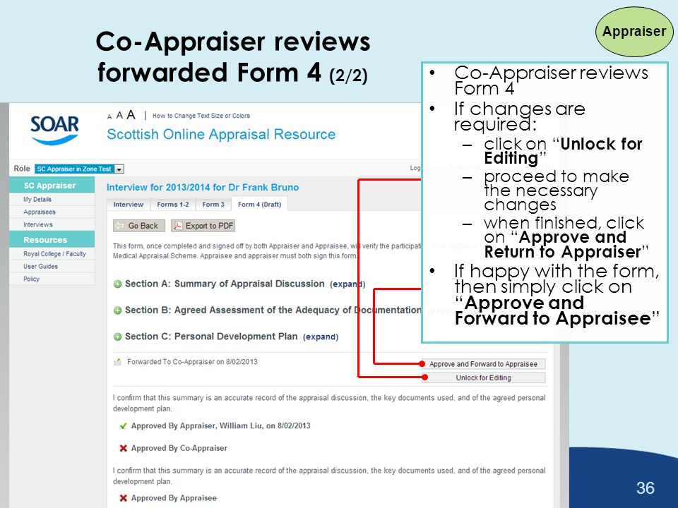 Co-Appraiser reviews forwarded Form 4 (2/2)