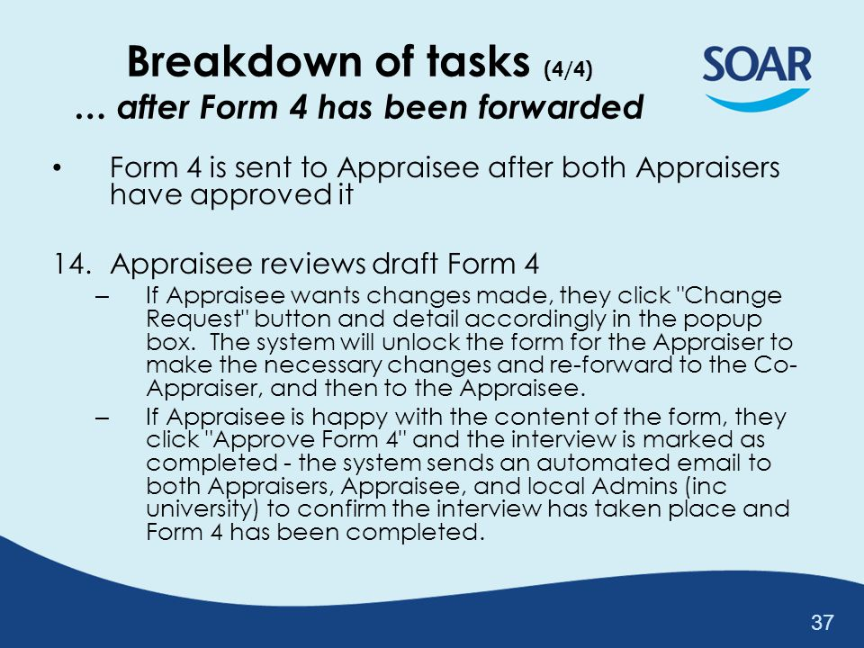 Breakdown of tasks (4/4) … after Form 4 has been forwarded