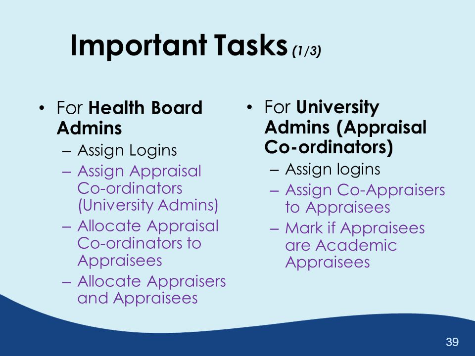 Important Tasks (1/3) For Health Board Admins