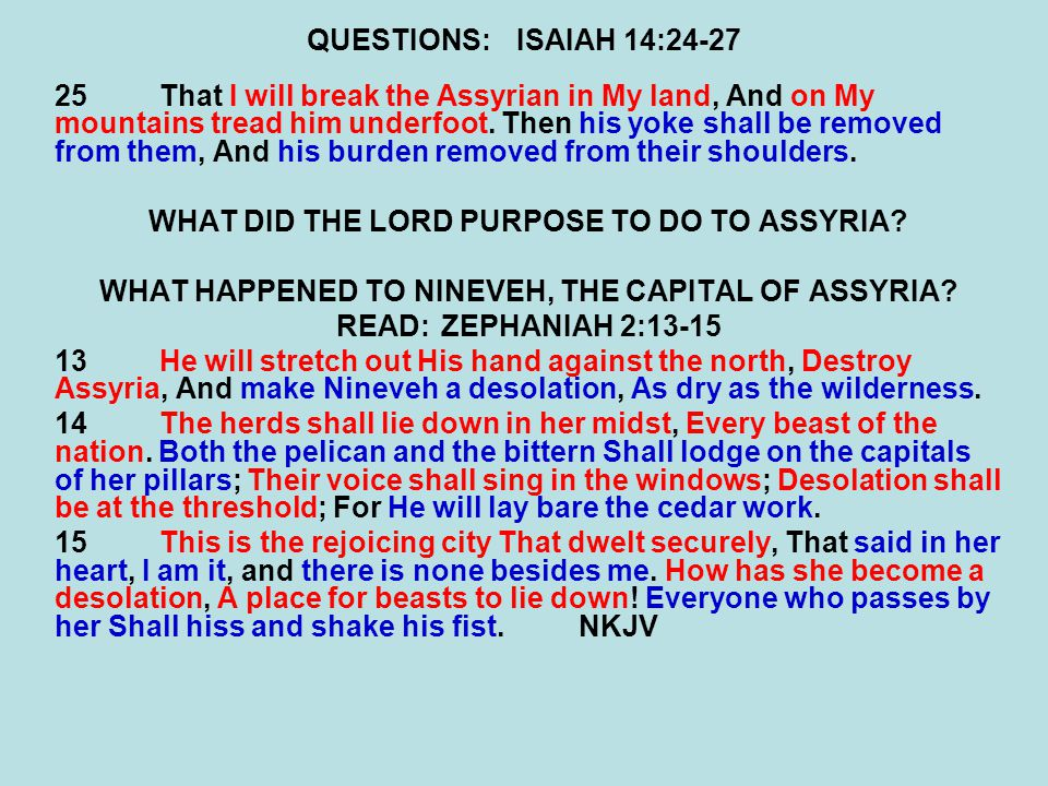 WHAT DID THE LORD PURPOSE TO DO TO ASSYRIA