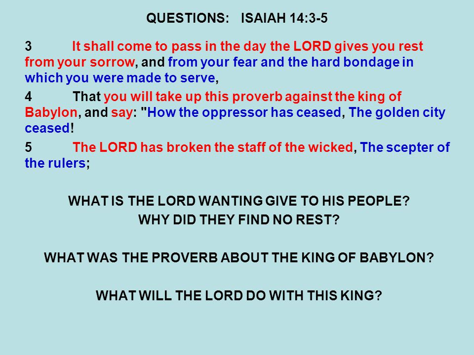 WHAT IS THE LORD WANTING GIVE TO HIS PEOPLE