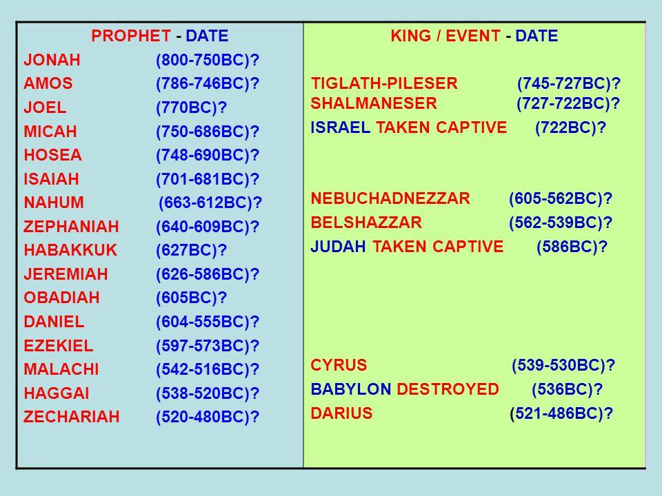 PROPHET - DATE JONAH (800-750BC) AMOS (786-746BC) JOEL (770BC) MICAH (750-686BC) HOSEA (748-690BC)