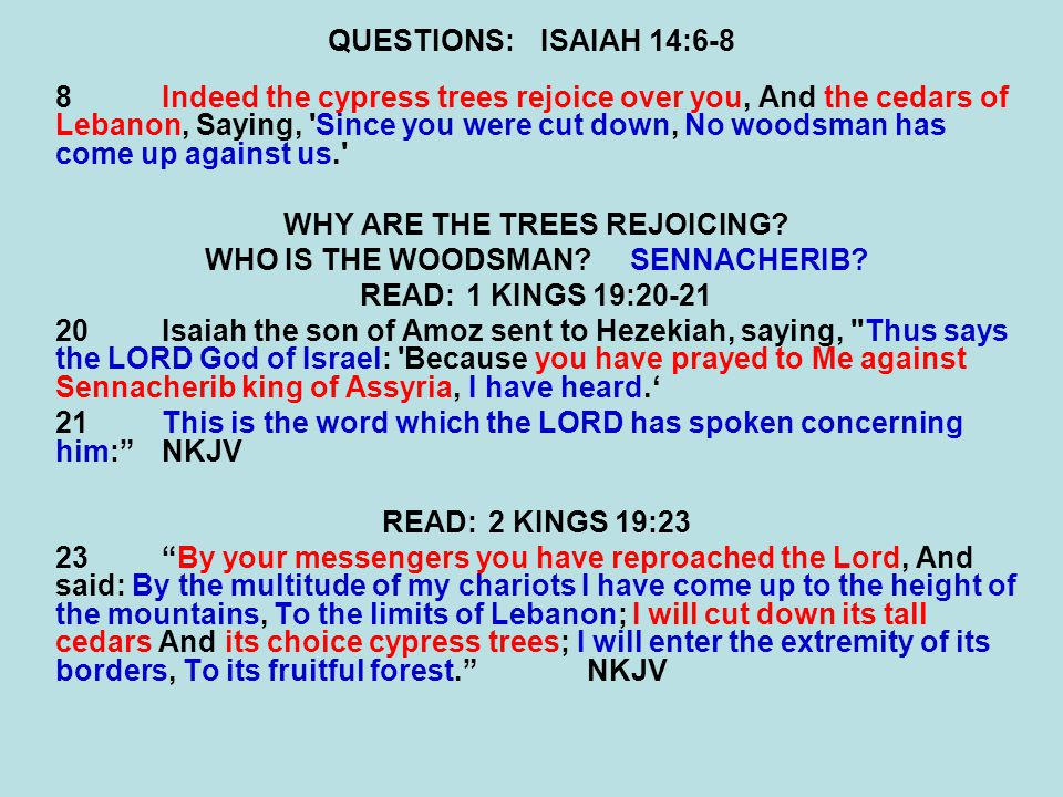 WHY ARE THE TREES REJOICING WHO IS THE WOODSMAN SENNACHERIB
