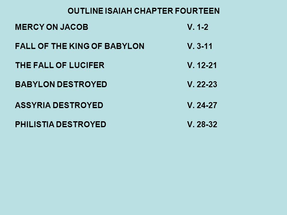 OUTLINE ISAIAH CHAPTER FOURTEEN