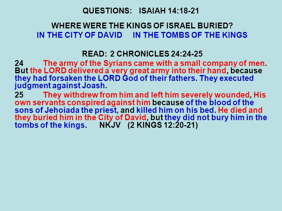 WHERE WERE THE KINGS OF ISRAEL BURIED