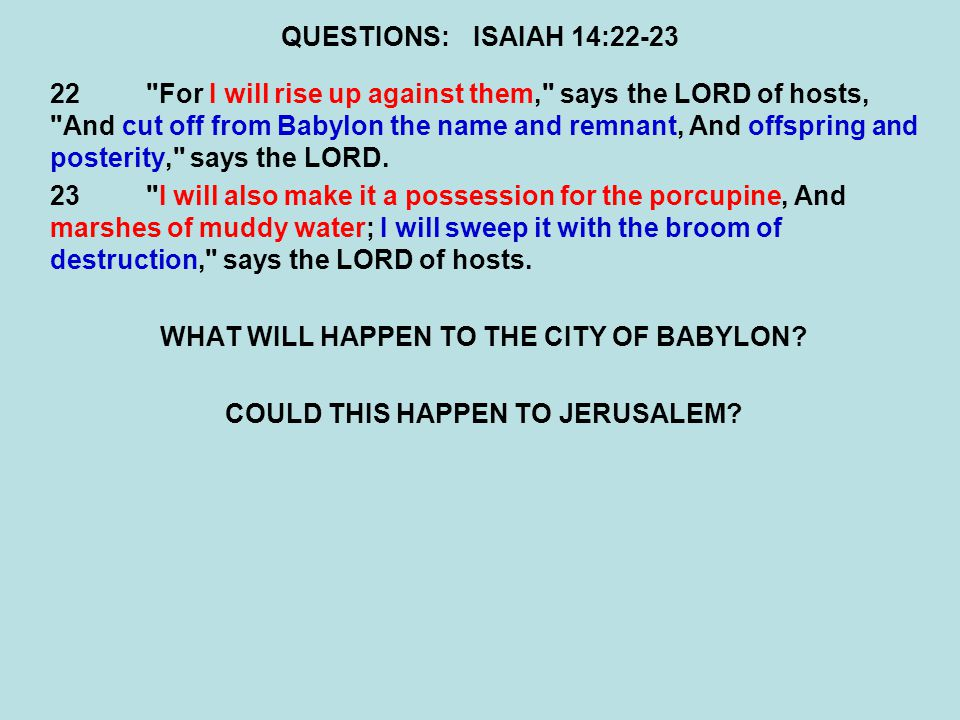 WHAT WILL HAPPEN TO THE CITY OF BABYLON