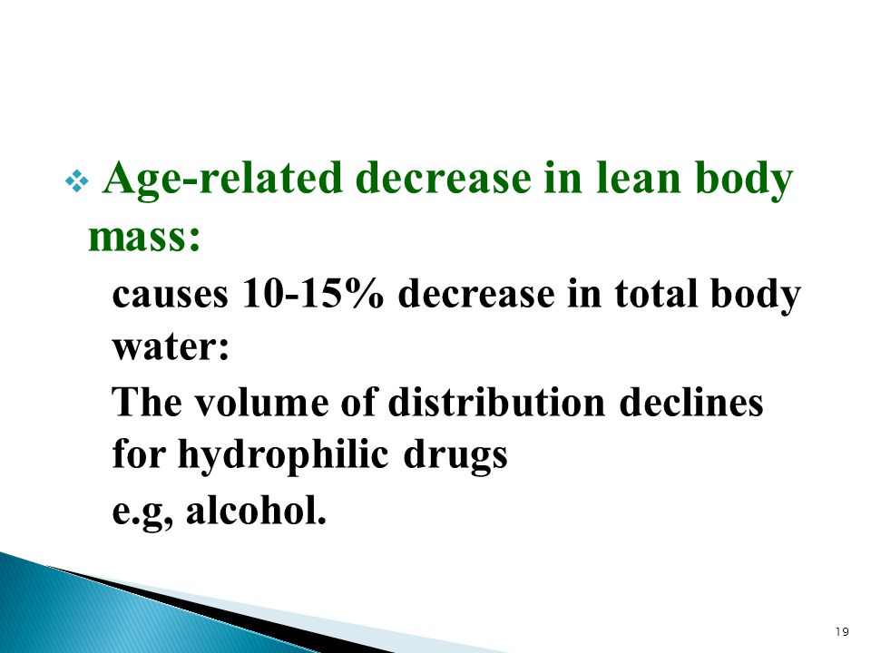Age-related decrease in lean body mass: