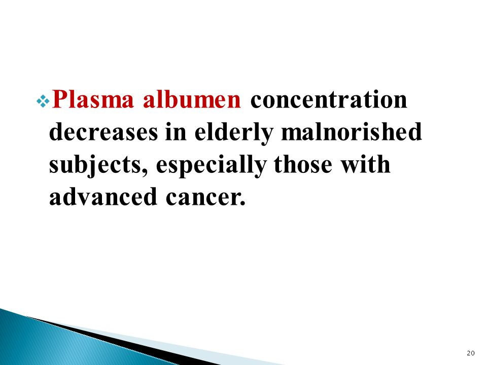 Plasma albumen concentration decreases in elderly malnorished subjects, especially those with advanced cancer.