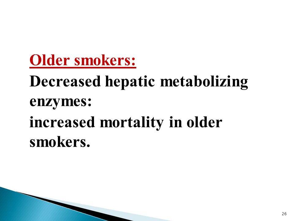 Older smokers: Decreased hepatic metabolizing enzymes: increased mortality in older smokers.