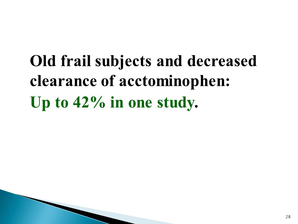 Old frail subjects and decreased clearance of acctominophen: Up to 42% in one study.