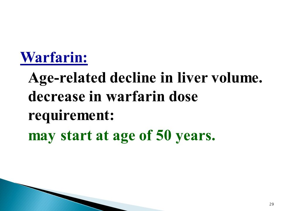 Warfarin: Age-related decline in liver volume