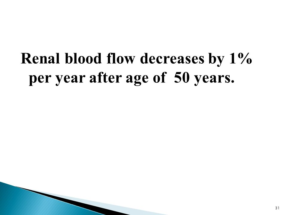 Renal blood flow decreases by 1% per year after age of 50 years.